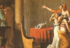 """Jacques-Louis David, """"Bruto and the Lictores"""", detail of the center"""