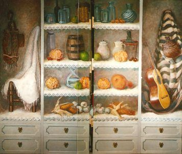 """Old merchant walker wardrobe"", oil painting on four doors, 1998"