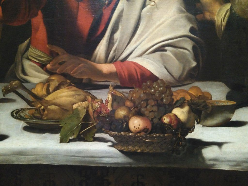 Still life of Caravaggio in The dinner of Emaus (National Gallery of London)