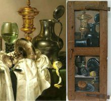 Still Life (left) by Willen Claesz. Heda, source of inspiration for the trompe l'oeil (right), by Santiago Ortega