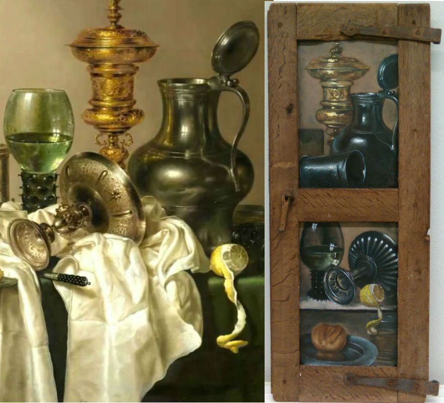 Still life (left) by Willen Claesz. Heda, source of inspiration for the trompe-l'oeil (right), by Santiago Ortega
