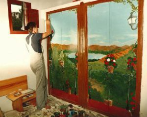"""During the realization of the trompe-l'oeil """"Rural Balcony"""""""