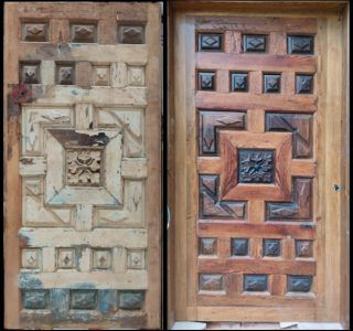 """Before and after the restoration of the door """"of the flower"""""""