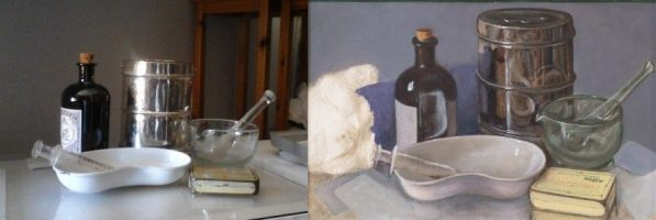 """Joint sketch and final painting of the trompe l'oeil """"Gazpacho"""""""