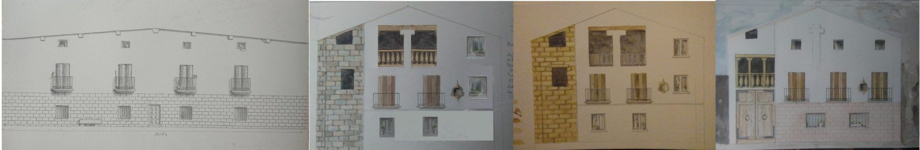 Ideal sketch and preliminary sketches of the mock Alfocea, Huesca