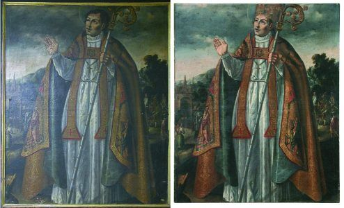 Saint Gregory Ostiense before and after treatment